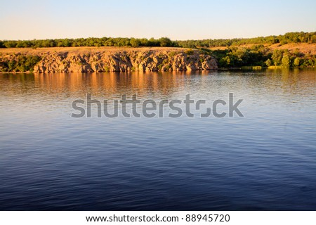 Scenic riverside view at sunrise