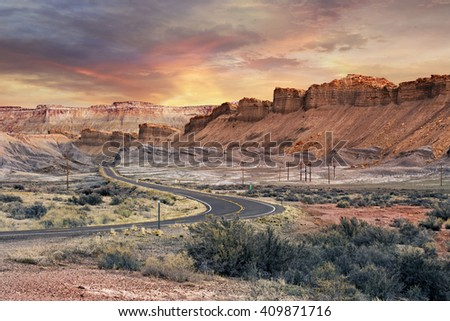 scenic road in Capitol Reef National Park at sunset - stock photo