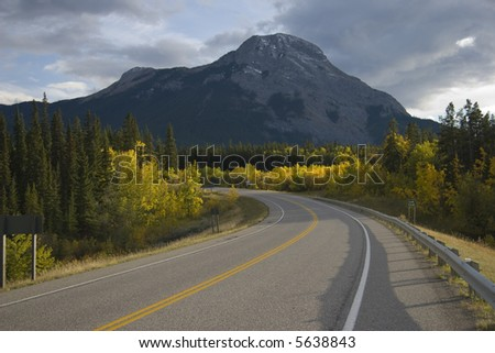 Scenic road in the rocky mountains