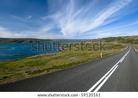 Scenic road on Iceland on beautiful weather