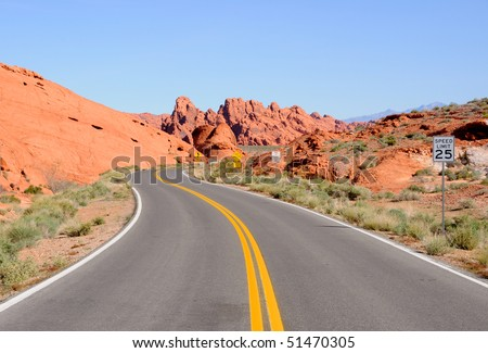 Scenic Road through Valley of Fire State Park - stock photo