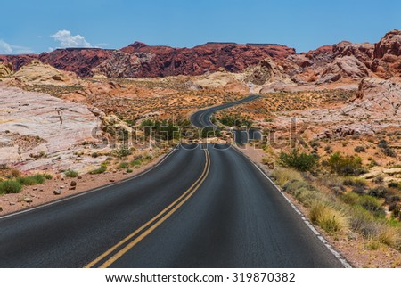 Scenic road to Valley of fire state park - stock photo