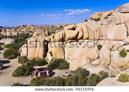 scenic rocks in Joshua Tree National Park  in Hidden valley - stock photo