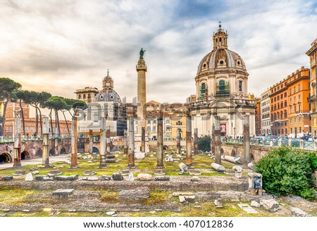 Scenic ruins of the Trajan's Forum and Column in Via dei Fori Imperiali, Rome, Italy
