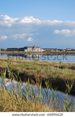 Scenic saltern and water reflections, Cervia, Ravenna, Italy - stock photo
