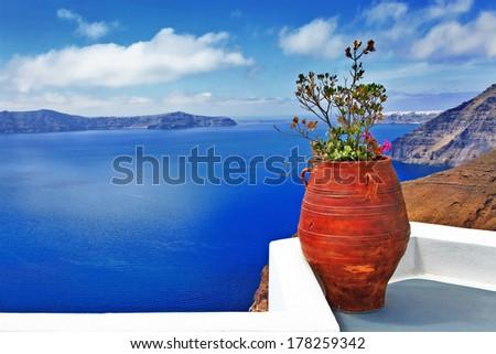 scenic Santorini island - stock photo