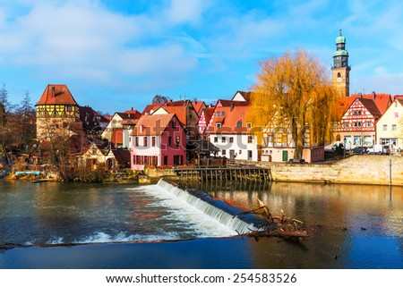 Scenic spring view of the Old Town pier ancient medieval architecture of Lauf an der Pegnitz in Nurnberger Land district of Bavaria, Germany - stock photo