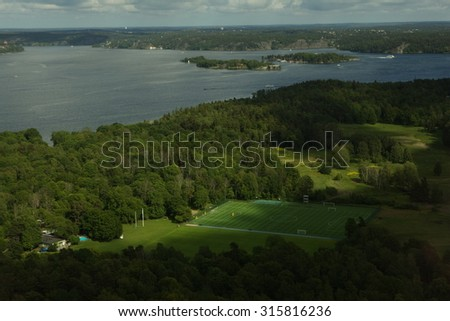 Scenic summer aerial panorama of Stockholm, Sweden - stock photo