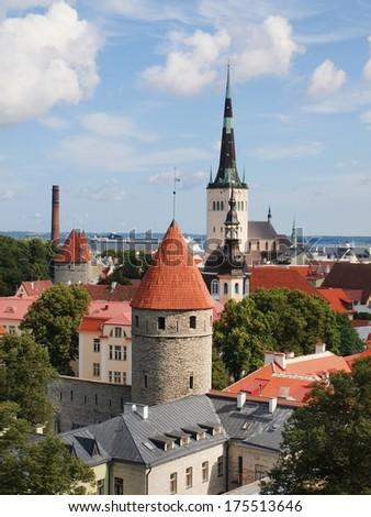 Scenic summer aerial panorama of Tallinn. Estonia.  - stock photo