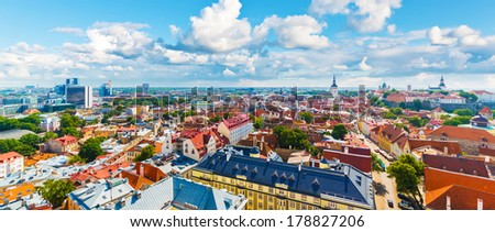 Scenic summer aerial panorama of the Old Town architecture in Tallinn, Estonia - stock photo