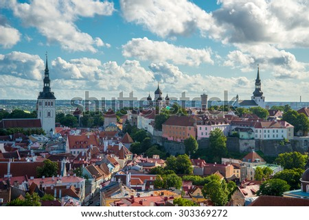 Scenic summer aerial panorama of the Old Town in Tallinn, Estonia - stock photo