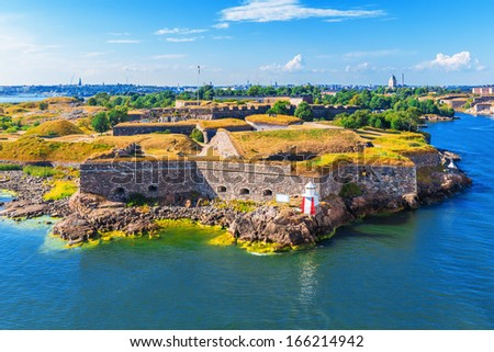 Scenic summer aerial view of Suomenlinna (Sveaborg) sea fortress in Helsinki, Finland - stock photo
