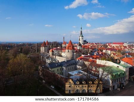 Scenic summer beautiful aerial skyline panorama of the Old Town in Tallinn, Estonia  - stock photo