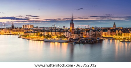 Scenic summer night panorama of the Old Town (Gamla Stan) architecture in Stockholm, Sweden - stock photo