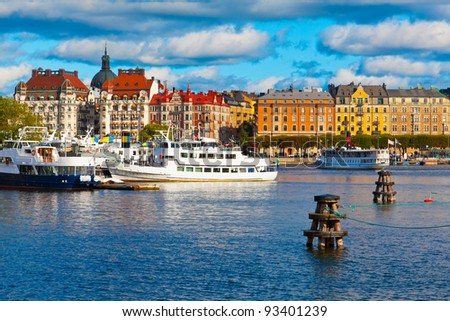 Scenic summer panorama of the Old Town in Stockholm, Sweden - stock photo