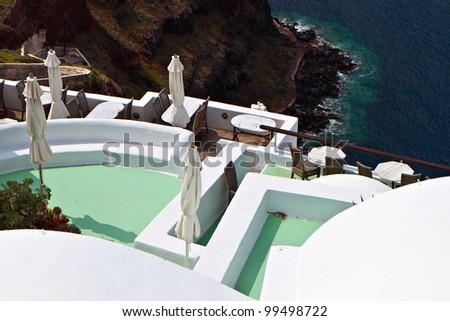 Scenic summer resort at Santorini island in Greece - stock photo