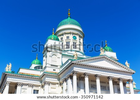 Scenic summer view of Lutheran Christian Cathedral Church at the Senate Square in the Old Town of Helsinki, Finland - stock photo
