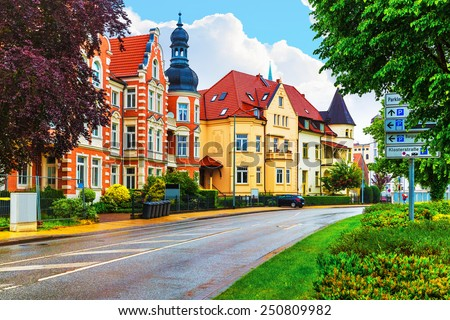Scenic summer view of old traditional architecture in the Old Town of Schwerin, Mecklenburg region, Germany - stock photo