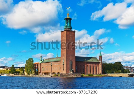 Scenic summer view of the City Hall castle in the Old Town (Gamla Stan) in Stockholm, Sweden - stock photo