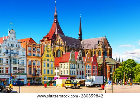 Scenic summer view of the Markplatz Old Town Market Square architecture in Rostock, Mecklenburg region, Germany - stock photo