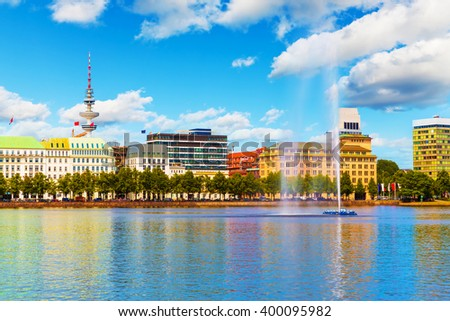 Scenic summer view of the Old Town architecture and pier of Alster lake and river in Hamburg, Germany - stock photo