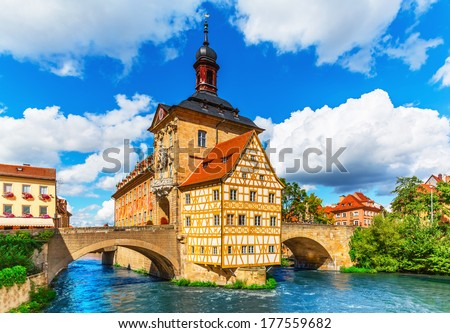 Scenic summer view of the Old Town architecture with City Hall building in Bamberg, Germany - stock photo