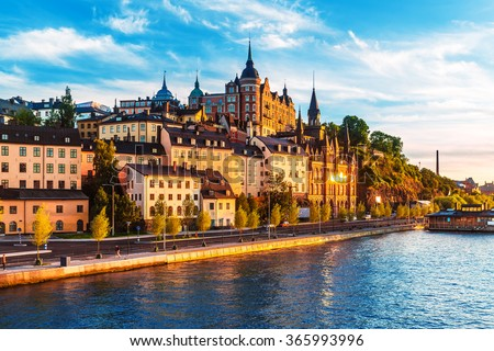 Scenic summer view of the Old Town pier architecture in Sodermalm district of Stockholm, Sweden - stock photo
