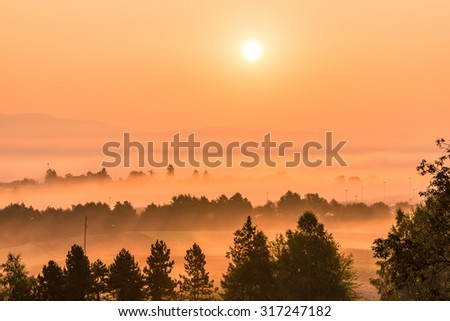 Scenic sunrise over the rural countryside of Slovenia