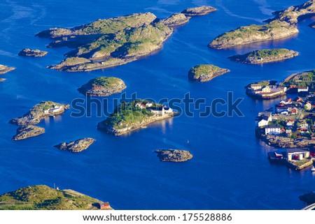 Scenic town of Henningsvaer on Lofoten islands in Norway - stock photo
