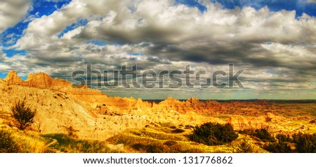 Scenic view at Badlands National Park, South Dakota, USA in the day light - stock photo