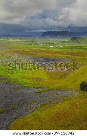 Scenic view at south part of Iceland - stock photo