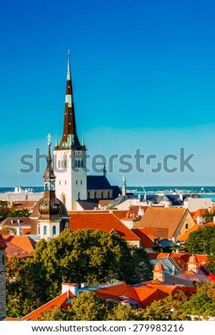 Scenic View Cityscape Old City Town Tallinn In Estonia. Niguliste Church - stock photo