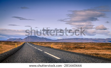 Scenic view from Highway No. 1 or Ring Road in Eastern Iceland - stock photo
