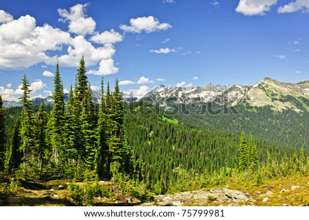 Scenic view from Mount Revelstoke of rocky mountains in British Columbia, Canada - stock photo