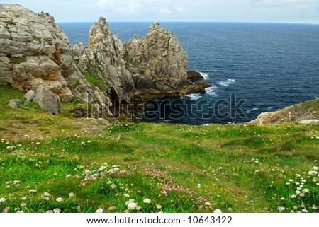 Scenic view from Pointe de Penhir on Atlantic coast in Brittany, France. Focus on foreground flowers. - stock photo