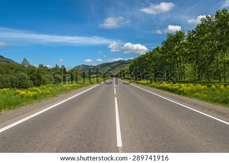 Scenic view from the asphalt road, mountains, trees, meadow with yellow flowers against a blue sky with clouds - stock photo