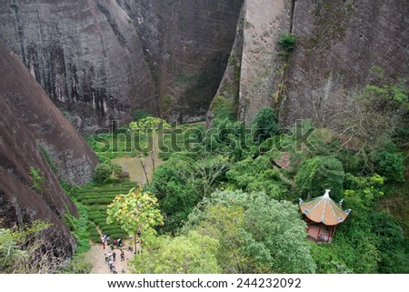Scenic view from top of Wuyi Mountains peak, Fujian province, China - stock photo