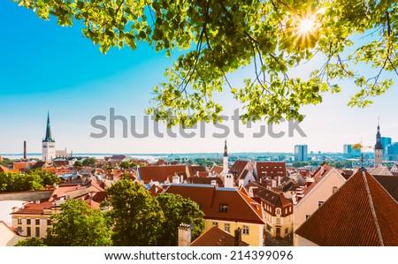 Scenic View Landscape Old City Town Tallinn In Estonia - stock photo