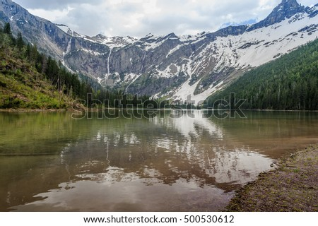 Scenic view of Avalanche Lake and glaciers in West Glacier National Park, Montana,USA