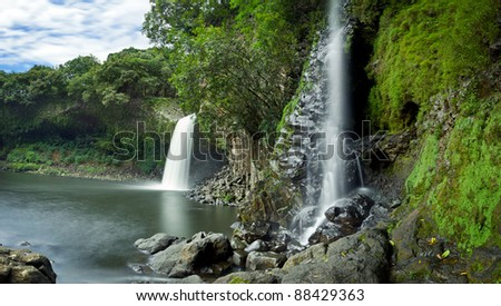 Scenic view of Bassin la Paix waterfall on Reunion Island. - stock photo
