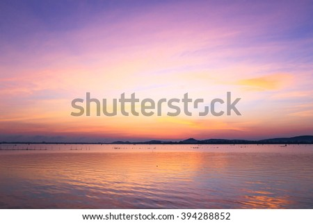 Scenic view of beautiful sunrise above the sea.