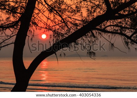 Scenic view of beautiful sunset above the sea, Thailand