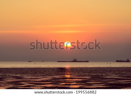 Scenic view of beautiful sunset sea in summer with cargo ship orange ,violet ,blue ,red ,cargo boat so far have seagull bird - stock photo