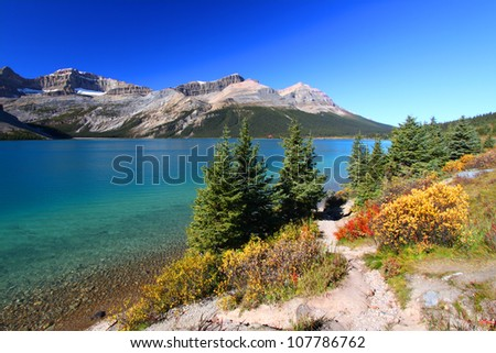 Scenic view of Bow Lake seen in Banff National Park of Alberta - stock photo