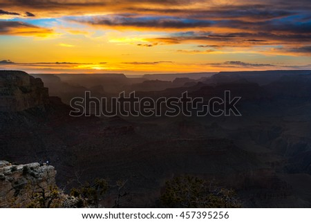 Scenic view of Canyon during sunset from overlook point, South Rim Grand Canyon National Park Arizona USA - stock photo