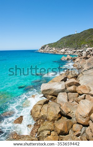Scenic view of cliff coast at Torndirrup National Park, Albany, Western Australia, wild Southern Ocean, blue sky, copy space. - stock photo