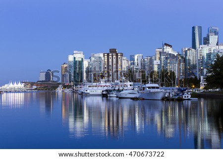 Scenic view of Coal Harbour and Vancouver, British Columbia, Canada skyline cityscape from Stanley Park.