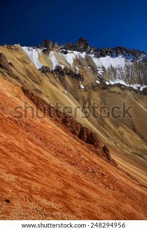 Scenic view of colored mountain slopes near Salar de Uyuni in Bolivia - stock photo