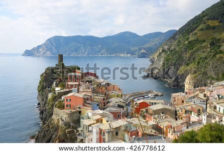 Scenic view of colorful village Vernazza  - stock photo