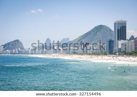 Scenic view of Copacabana Beach with skyline of Rio de Janeiro Brazil - stock photo